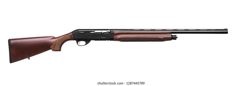 semi-automatic shotgun with a wooden butt and forearm isolated on white background