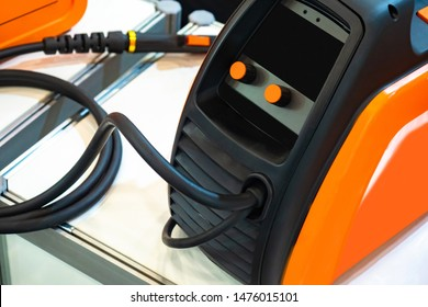 Semi-automatic welding. The welding machine on the box for transportation. Apparatus for creating welds. Welds inverter. Equipment for welder. Apparatus for welds pieces of iron.Industrial equipment
