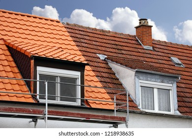 Semi-detached house with old roof and with renovated roof
