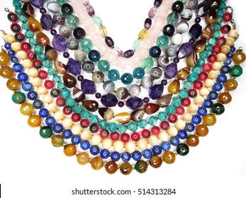 semigem necklace with bright crystals jewellery