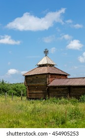 Semiluzhenski kazak ostrog - Russian small wooden military fort,  encircled by palisade walls from sharpened trunks. Semiluzhki village in Siberia. There is a small wooden chapel of St Nikolay inside.
