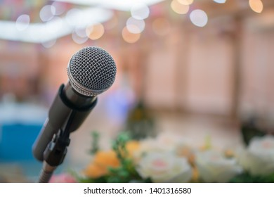 Seminar Conference Concept : Microphones for speech or speaking in seminar conference hall, prepare for talking lecture to audience university. Business meeting or education teaching iimage