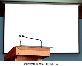 Seminar Podium with Blank Screen