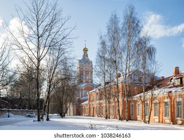 Seminar's Southern housing and the Library Tower of the Alexander Nevsky Lavra on  winter sunny day, St. Petersburg, Russia