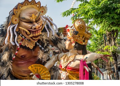 Seminyak, Bali, Indonesia - March 08 2016 : Ogoh-Ogoh statues as they're locally known being paraded in the street on the eve of Nympi (silent day).