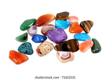 Semi-precious stones isolated on white background