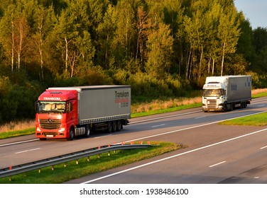 Semi-trailer truck Mercedes-Benz Actros by TRANSCOM cargo company driving along highway. Goods Delivery by roads. Russia, Moscow region - SEPT 07, 2020