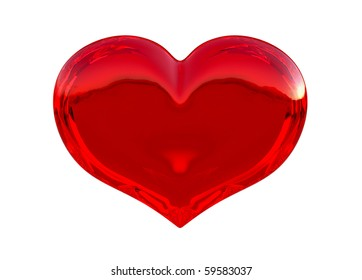 Semitransparent red heart shape isolated over white