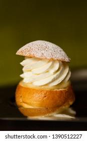 Semla Bun, a traditional Scandinavian sweet roll popular around the Easter holiday.