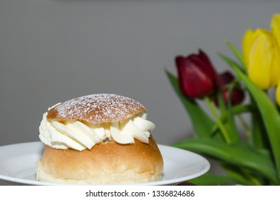 Semla, traditional scandinavian pastry by spring season