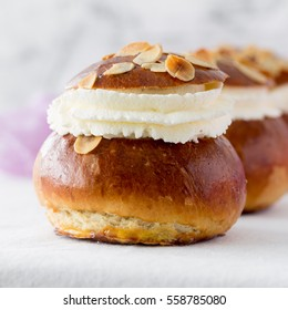 Semla traditional swedish homemade sweet roll bun baked in various forms in the Nordic countries on Shrove Monday and Shrove Tuesday