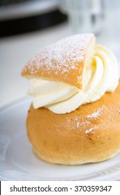 A semla, traditional sweet roll