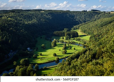 Semois river in Ardennes - Belgium. Beautiful view on the valley of the river Semois at sunset near the village of Membre. Ardennes region in province Namur in Belgium