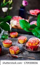 Semolina almond and blood orange syrup cake.vintage style.selective focus