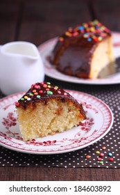 semolina cake with chocolate frosting and sugar Sprinkling