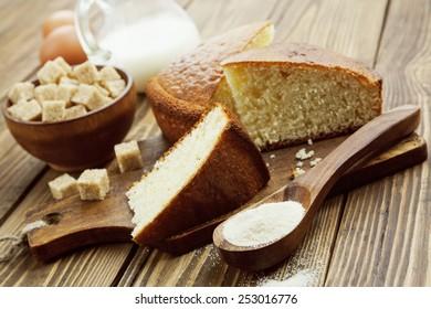 Semolina cake on a cutting board. Mannik