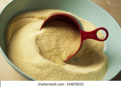 semolina flour in a bowl