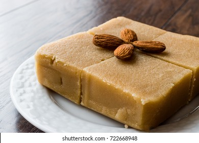 Semolina Halva with Almonds and Marzipan cut in square.