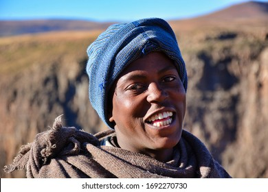 Semonkong, Kingdom of Lesotho, Africa – 26th of July 2019: young boy from Basotho people, traditionally dressed with tribal blankets.