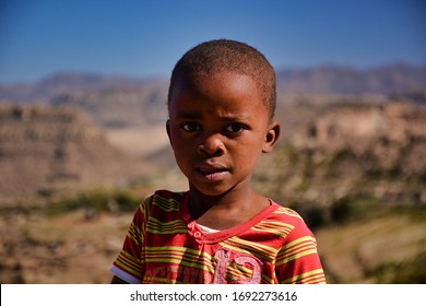 Semonkong, Kingdom of Lesotho, Africa – 26th of July 2019: Child from Basotho people.