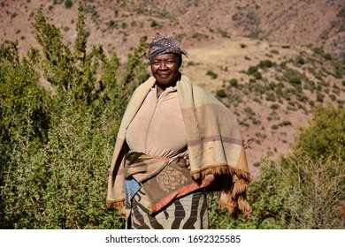 Semonkong, Kingdom of Lesotho, Africa – 26th of July 2019: Woman from Basotho people.