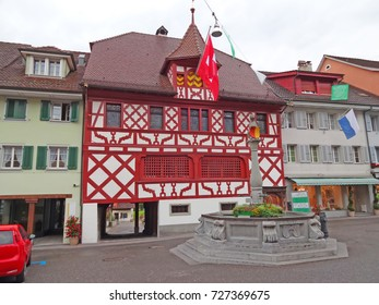Sempach Town Hall in the canton of Lucerne, Switzerland. A well known half timbered building
