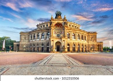 Semperoper opera building at night in Dresden