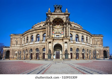 The Semperoper - the Opera House of the Saxon State Opera Dresden, Germany. Building (architect Gottfried Semper, 1841) is located near the Elbe River in the historic centre of Dresden.
