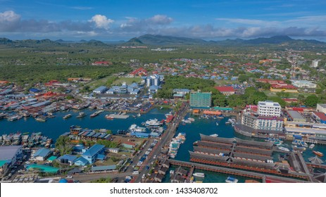 SEMPORNA, SABAH - JUNE 20, 2019 : An aerial view of Semporna town, Sabah-Borneo, Malaysia. Semporna is well known destination for island hopping and diving centre for tourists from around the world.
