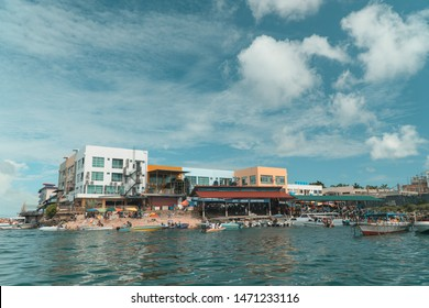 Semporna, Sabah. Malaysia - June 23, 2019 : Semporna public jetty, Semporna is a gateway to nearby diving sites and is a popular destination for fresh caught seafoo in Borneo, Sabah.