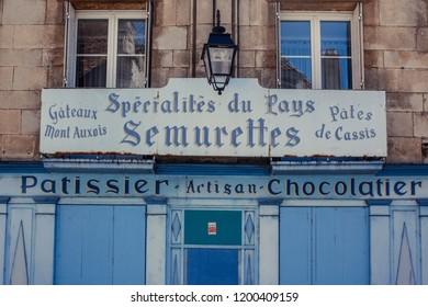 Semur en Auxois / France - 07-16-2016: Sign of an artisan baker and chocolatier shop