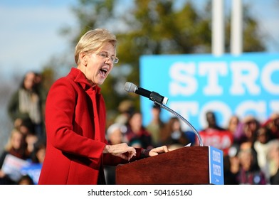 Sen. Elizabeth Warren, D-Massachusetts, campaigns for Hillary Clinton at St. Anselm College in Manchester, N.H., on Oct. 24, 2016.