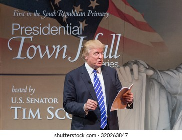 Sen. Tim Scott and Donald Trump held a Town Hall Meeting at the Koger Center on September 23, 2015 in Columbia S.C. Trump successfully connected to the full audience using his trademark humor.