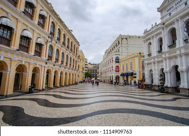 Senado Square, Historic Centre of Macau, a UNESCO World Heritage Site.   landmark and popular for tourist attractions in Macao. Macao, 5 June 2018