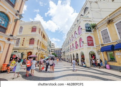SENADO SQUARE , MACAU , JULY 2 : The Senado Square is a paved town square a part of the UNESCO Historic Centre of World Heritage Site in Macao , China on July 2 2016.
