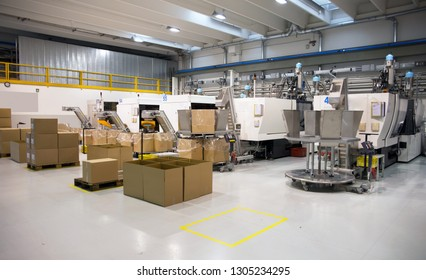 SENAGO (MI), ITALY - March 18, 2018 - Department of Italian industry specialized in the manufacture of plastic components - Injection moulding machines