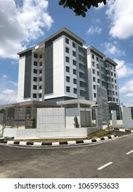 Senai Jaya 1, Johor - 7 February 2018 : View of new appartment 8th Floor ready to buy or rent. Each house have 3 rooms, 4 toilet, 2 shower room, kitchen, yard and big hall area.
