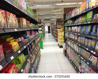 SENAI,JOHOR-FEBRUARY 7 2017: the view inside of a hypermarket that sells all groceries