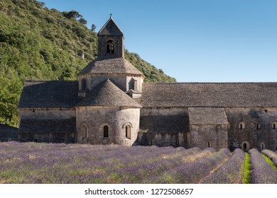 Senanque Abbey Gordes Vauclause Provence-Alpes-Cote d'Azur France 2nd July 2017 view over lavender fields