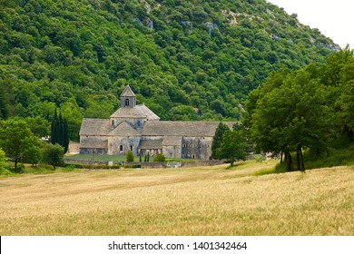 Senanque, France-06 16 2015:The Sénanque Abbey, or Abbaye Notre-Dame de Sénanque is a Cistercian abbey near the village of Gordes in the département of the Vaucluse in Provence, France.