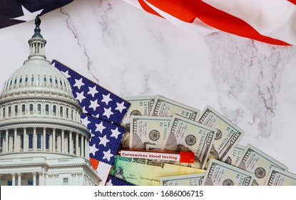 Senate and House of Representatives of United States Government the stimulus package financial package government for people, American flag and US dollar cash banknote