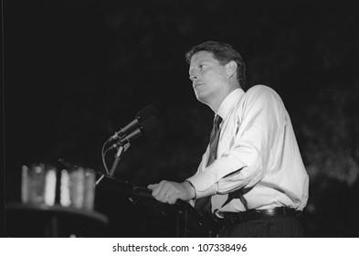 Senator Al Gore addresses the crowd at a DNC Fundraiser in New York City, 1992