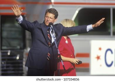 Senator Al Gore on the Clinton/Gore 1992 Buscapade campaign tour in Cleveland, Ohio