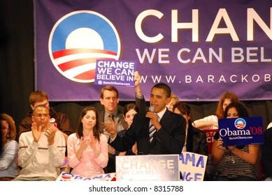 Senator Barack Obama campaigning for president
