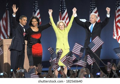 Senator Barack Obama, wife Michelle Obama, Jill Biden, Joe Biden at a public appearance for Barack Obama US Presidential Election Victory Speech and Celebration, Grant Park, Chicago, Nov04, 2008