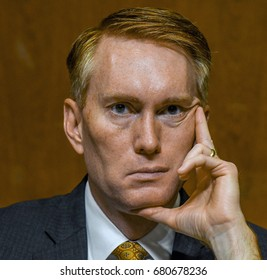 Senator James Lankford Republican from Oklahoma listens to witness during a Senate Subcommittee hearing on Appropriations  Washington DC. June 13, 2017.