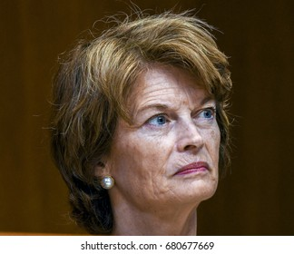 Senator Lisa Murkowski Republican of Alaska listens to witness during a Senate Subcommittee hearing on Appropriations  Washington DC. June 13, 2017.
