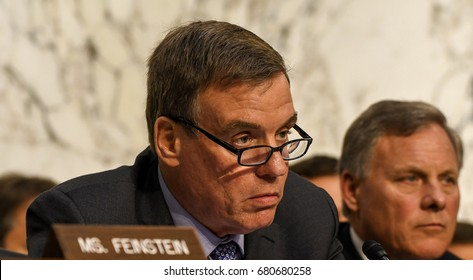 Senator Mark Warner Vice Chairman of the Senate Intelligence Committee questions US. Attorney General Jeff Sessions at the Senate Intelligence Committee hearings, Washington DC, June 13, 2017.