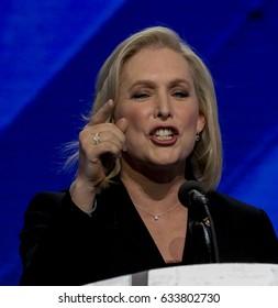 Senator Tammy Baldwin Democrat from Wisconsin addresses the Democratic National Convention in the Wells Fargo Arena in Philadelphia, Pennsylvania. July, 2016