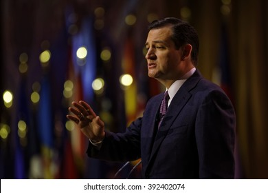 Senator Ted Cruz of Texas pictured during the 2014 CPAC conference in Washington DC. Cruz is seeking the Republican nomination for President. photo by Trevor Collens